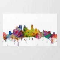 minneapolis Area & Throw Rugs featuring Minneapolis Minnesota Skyline by artPause