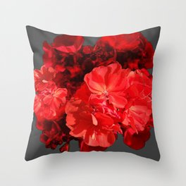 Decorative Red Geraniums On Grey Throw Pillow
