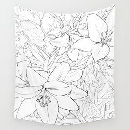 Asiatic Lillies I line art Wall Tapestry