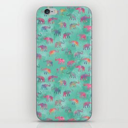 Elephants on Parade Watercolor Green iPhone Skin