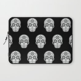 Día de Muertos Calavera • Mexican Sugar Skull – White on Black Palette Laptop Sleeve