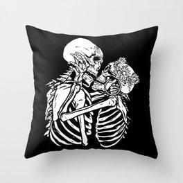 Skeletons kiss and hug each other Throw Pillow