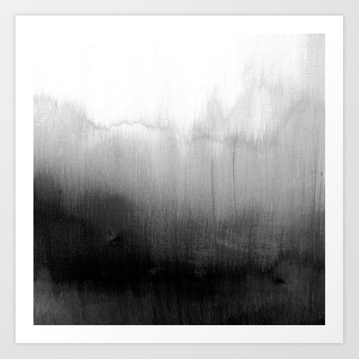Modern Black And White Watercolor Gradient Art Print By