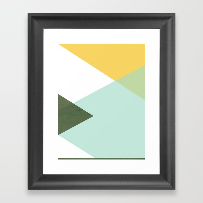 Geometrics - citrus & concrete Gerahmter Kunstdruck