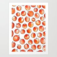 Watercolor Peaches Art Print