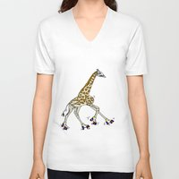 roller derby V-neck T-shirts featuring Giraffe Roller Derby by Twisted Tone
