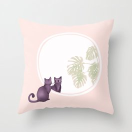 Kitty in the Mirror Throw Pillow