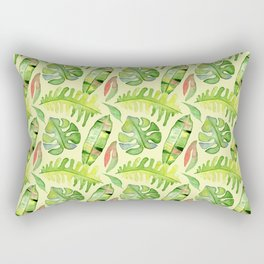 Hand painted green red watercolor tropical cheese leaves Rectangular Pillow