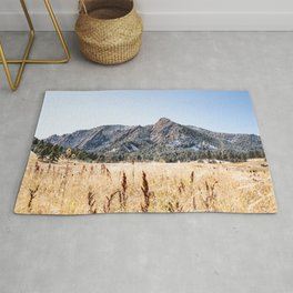 Flatirons Boulder // Colorado Landscape Photograph Yellow Red Field Green Forest Trees Rug