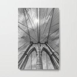 NEW YORK CITY Brooklyn Bridge in Detail | monochrome Metal Print
