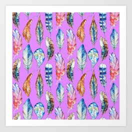 Hand painted pink blue violet bohemian feathers pattern Art Print