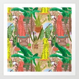 Maximalist Rattan Cheetah Chairs + Mirrors in Pink Terrazzo Art Print
