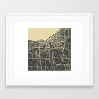 cleveland Framed Art Prints featuring Cleveland map by Map Map Maps