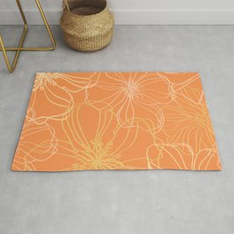 Line Art, Floral Prints, Orange and Yellow, Minimalist Art Rug