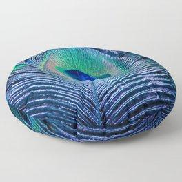 Peacock Feather Blush Floor Pillow