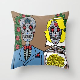 Day of the Dead Bride & Groom Portrait Throw Pillow