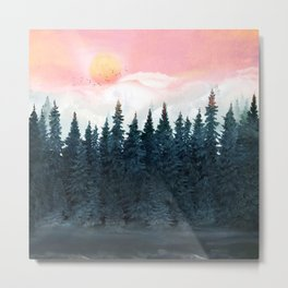 Forest Under the Sunset Metal Print
