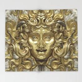 """Ancient Golden and Silver Medusa Myth"" Throw Blanket"