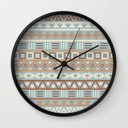 Aztec Influence Pattern Blue Cream Terracottas Wall Clock