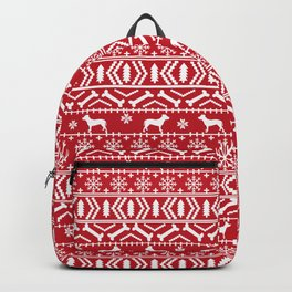 Pitbull fair isle christmas holidays red and white dog breed silhouette pattern Backpack
