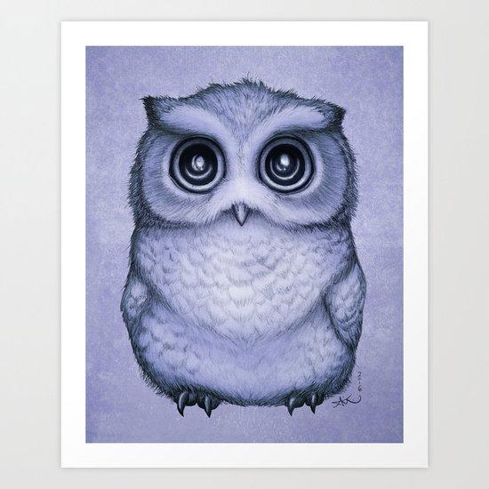 """The Little Owl"" by Amber Marine ~ (Lavender Bud Version) Pencil&Ink Illustration, (Copyright 2016) Art Print"