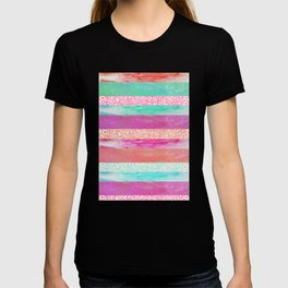 Tropical Stripes - Pink, Aqua And Peach Colorway T-shirt