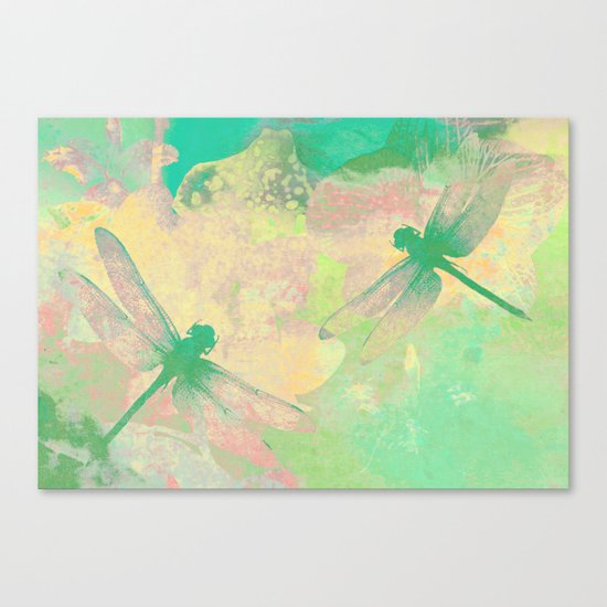 Green Painting Dragonflies Canvas Print