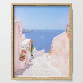 Santorini Greece Mamma Mia Pink Street Serving Tray