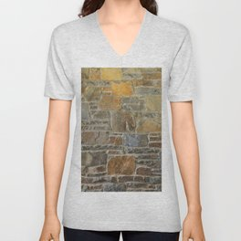 Avondale Brown Stone Wall and Mortar Texture Photography Unisex V-Neck