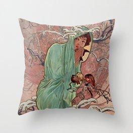 WINTER by Alphonse Mucha Throw Pillow