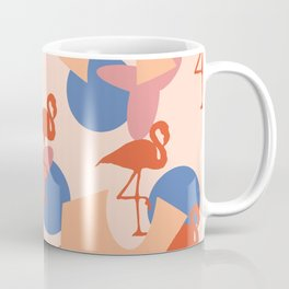 Flamingo and leaves pattern coral blue Coffee Mug