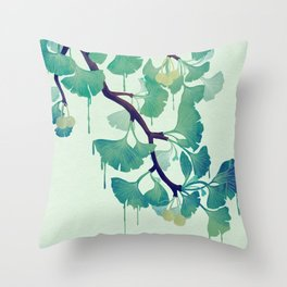 O Ginkgo (in Green) Throw Pillow
