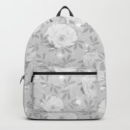 Black and White Farmhouse or French Country Poppy Flowers - Gray Backpack