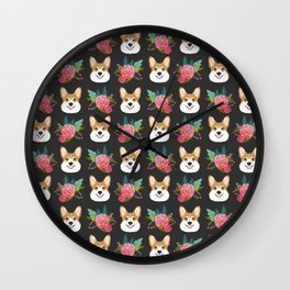 Corgi face floral bouquet cute dog breed gifts for welsh corgi lovers must haves Wall Clock