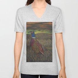 Rooster Pheasant at Sundown Unisex V-Neck