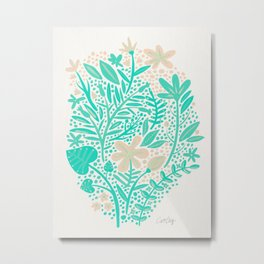 Garden – Mint & Cream Palette Metal Print