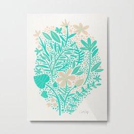 Garden – Mint & Cream Palette Metal Print