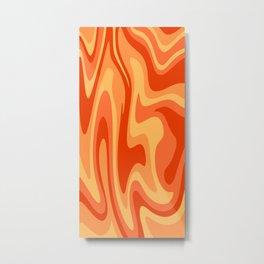 Mid Century Modern Liquid Fire Abstract // Red, Orange, Mustard Yellow Metal Print