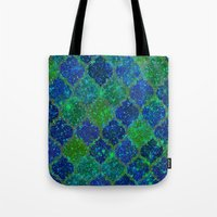 moroccan Tote Bags featuring Glitter Moroccan by Saundra Myles