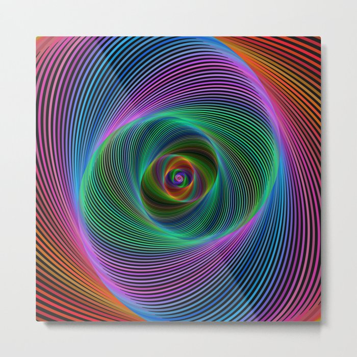 Psychedelic Spiral Stripes Metal Print