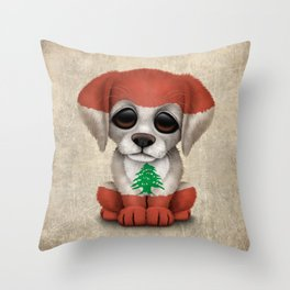 Cute Puppy Dog with flag of Lebanon Throw Pillow