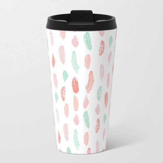 Feather mint pink and white minimal feathers pattern nursery gender neutral boho decor Metal Travel Mug