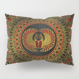 Egyptian Scarab Beetle - Gold and red  metallic Pillow Sham