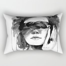 Watercolour Fashion Illustration Girl with the Plait in Her Hair Rectangular Pillow