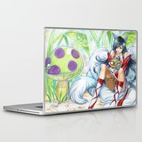 league of legends Laptop & iPad Skins featuring Ahri hugging Teemo league of legends by meomeo
