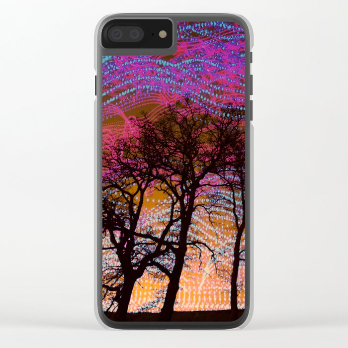 Disco Dancing Trees Clear iPhone Case