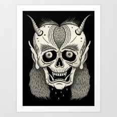 Grinning Skull with Horns Art Print
