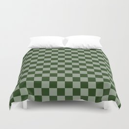 Large Dark Forest Green Checkerboard Pattern Duvet Cover