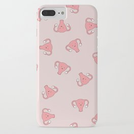Crazy Happy Uterus in Pink, Large iPhone Case