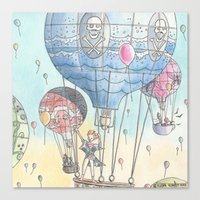 hot air balloon Canvas Prints featuring Hot air balloon party by Dreamy Me